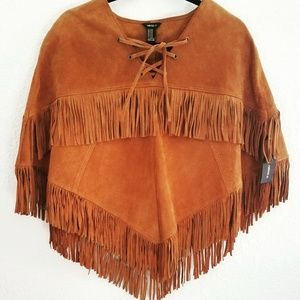 FOREVER 21 GENUINE PIGSKIN LEATHER BOHO PONCHO